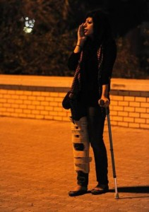 Zainab Al-Khawaja protesting alone in August, 2012 at AlQadam roundabout before her arrest